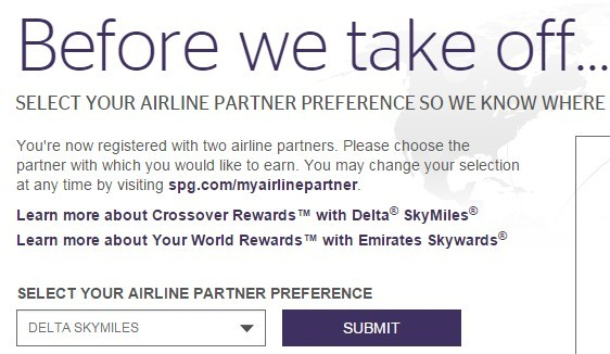 Your World Rewards Airline Earning Selection