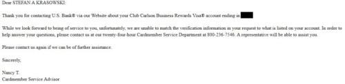 US Bank email response