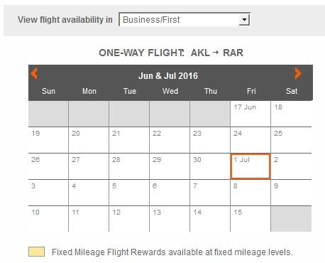 Air New Zealand AKL-RAR Business