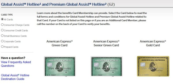 Amex Global Assist Cards