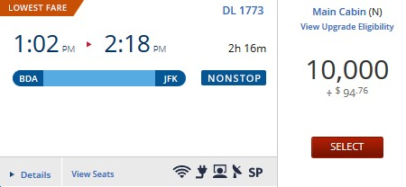 BDA-JFK miles