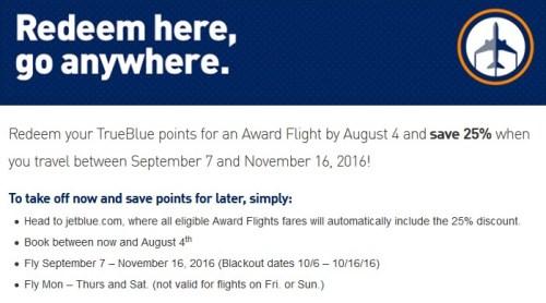 JetBlue Award Sale