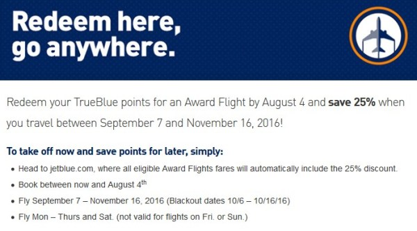 JetBlue Award Sale