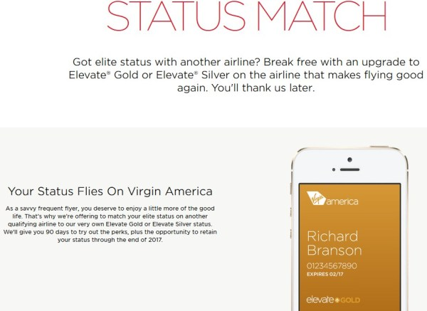 Virgin America Status Match
