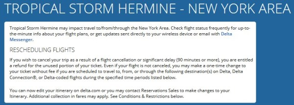 Tropical Storm Hermine Delta Weather Waiver