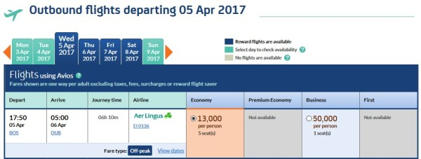 Avios Award Boston to Dublin 05 Apr 2017