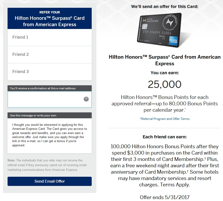Amex Hilton Surpass 100k Refer-a-Friend Form