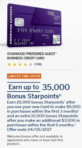 Amex SPG Biz 35k April 2017