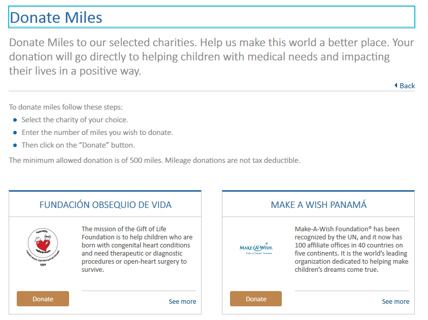 Copa ConnectMiles Donate Miles