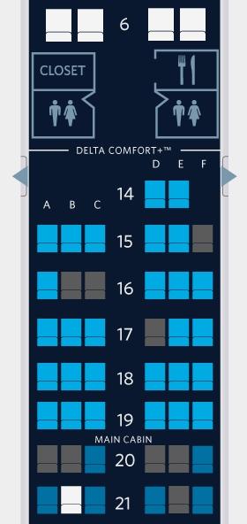 Delta Revenue Ticket Seat Map