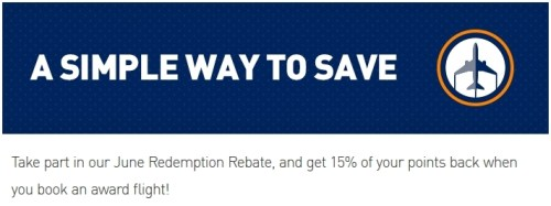 JetBlue June Redepmtion Rebate 15