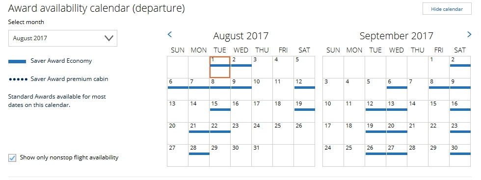 United San Francisco-Boston Award Availability