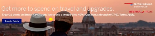 Amex to British Airways 40 Percent Bonus 2017