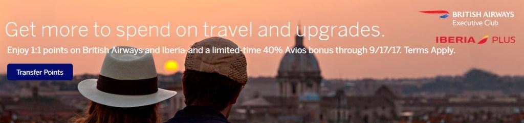 Amex to British Airways 40 Percent Bonus 2017