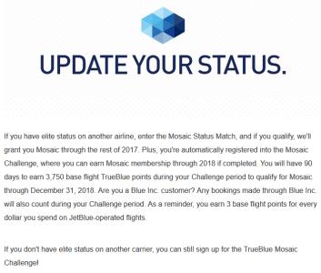 JetBlue Status Match 2017