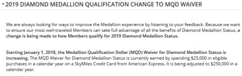 2019 Delta MDQ Waiver Change