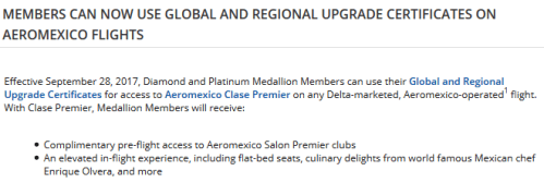 Delta Aeromexico Upgrade Certificates