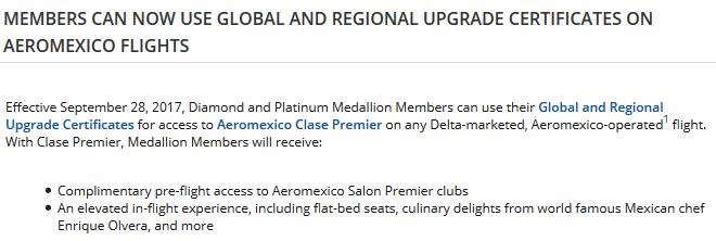 Delta Aeromexico Upgrade Certificates
