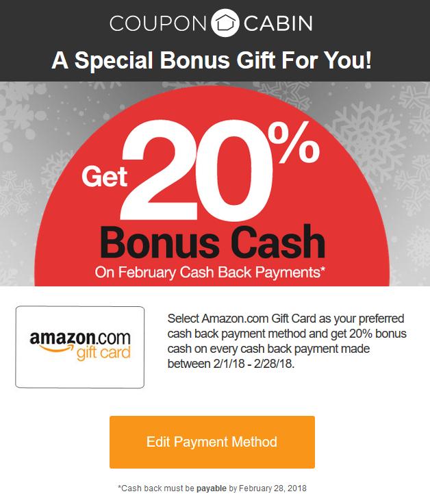 CouponCabin Amazon Gift Card Payout Bonus