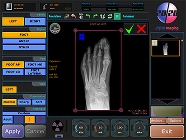 Podiatrist PACS and Aquisition Software, digital x-rays pacs software