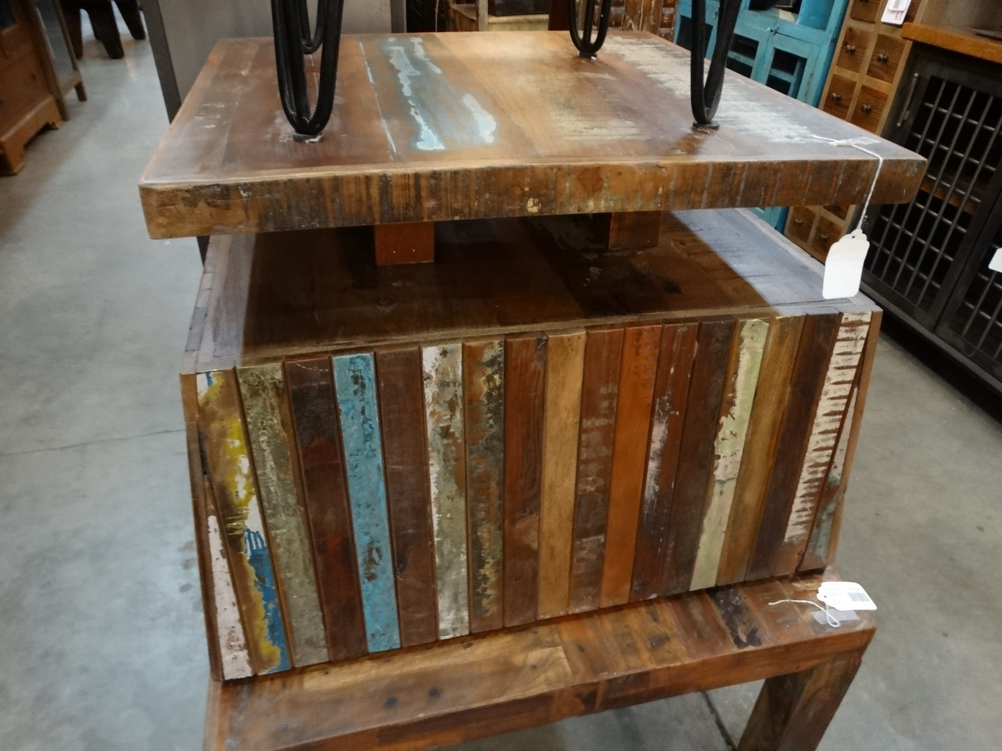 coffee table two tiered reclaimed wood coffee table