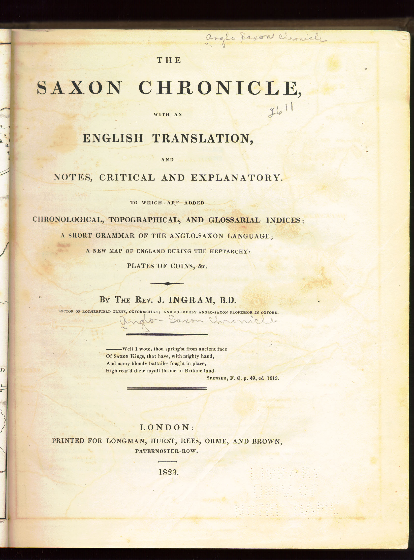 Old English 1823 Anglo Saxon Chronicle