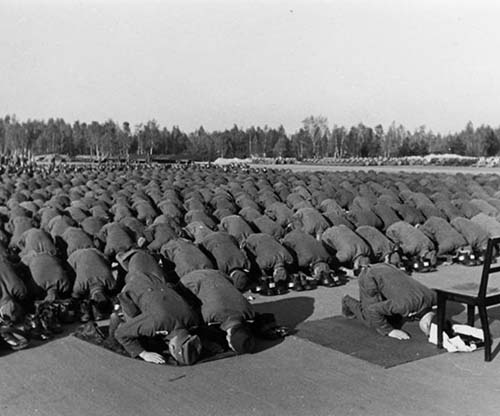 Muslim Members Of The Waffen-SS 13th Division At Prayer