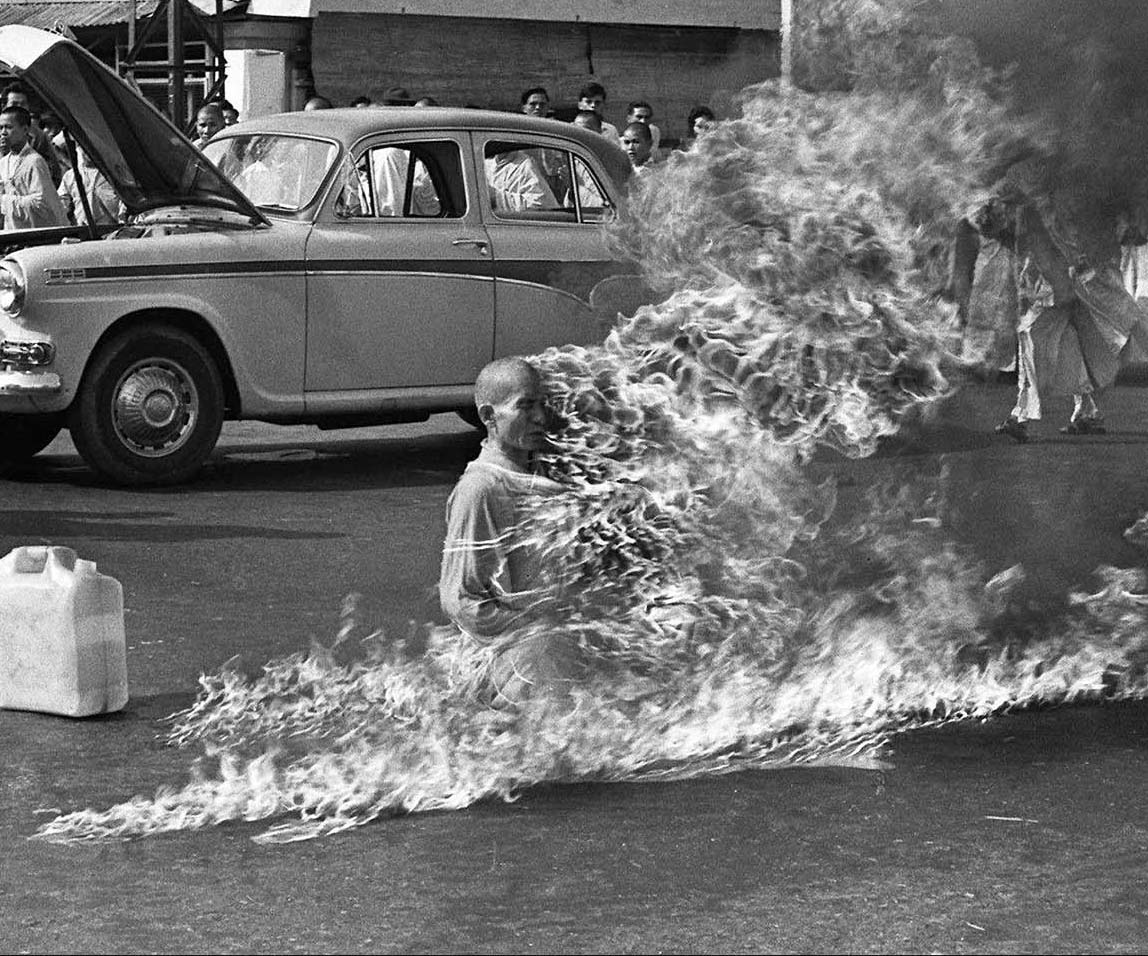 Image result for Vietnam War Buddhist Monk Fire