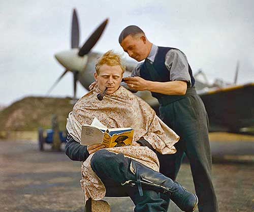 RAF Pilot Getting A Haircut During A Break Between