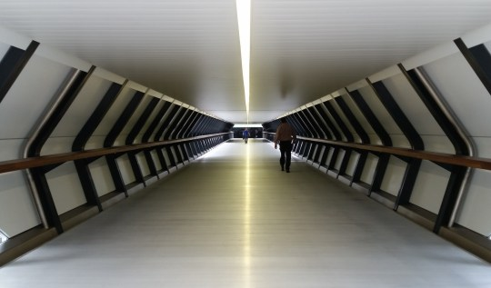 Adams Plaza Bridge, Canary Wharf Crossrail station. Photo by lipsticklori