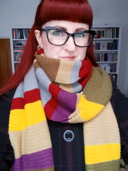 lipsticklori wearing her Doctor Who scarf
