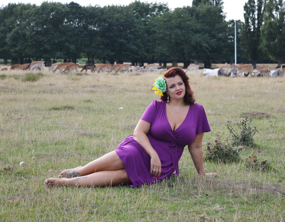 Blogger Georgina, from Fuller Figure Fuller Bust, wearing the Lady Voluptuous 'Lyra' dress