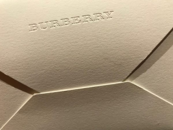 Envelope for the Burberry February 2018 show invite
