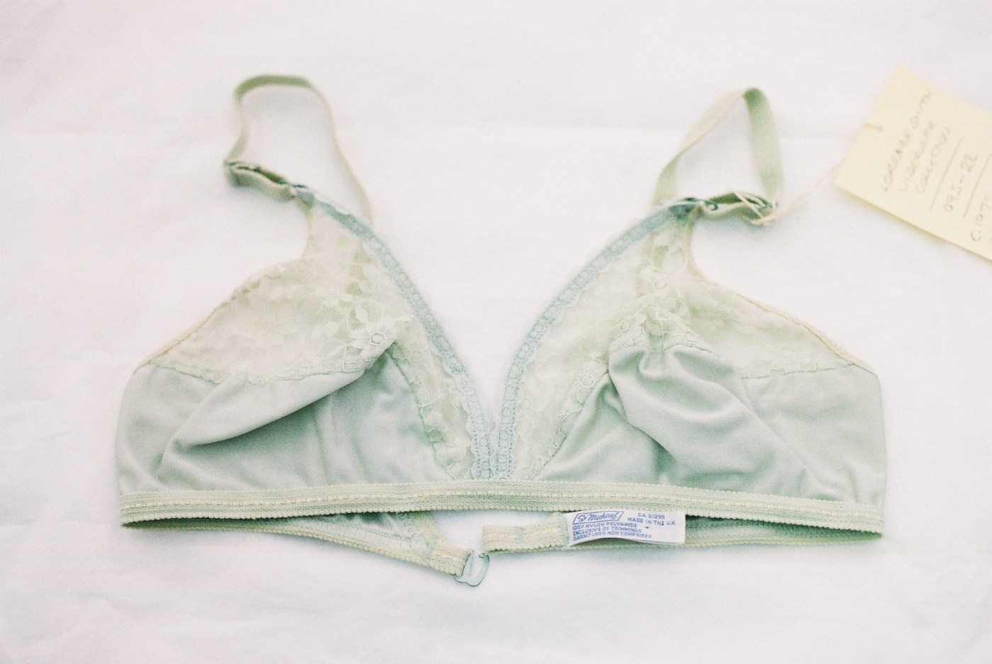 A bra in the London College of Fashion Archives. Photography by Francesca Tye.