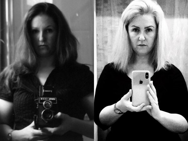Lori in 2005 (left) and 2019 (right)