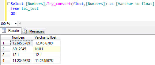 SQL SERVER - How to convert varchar to float (2/2)