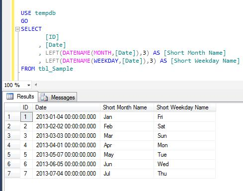 SQL SERVER - How to get short month name / weekday name from datetime (1/2)