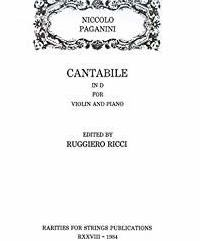 Paganini, Niccolo (Ricci)Cantabile in D Major for Violin & Piano