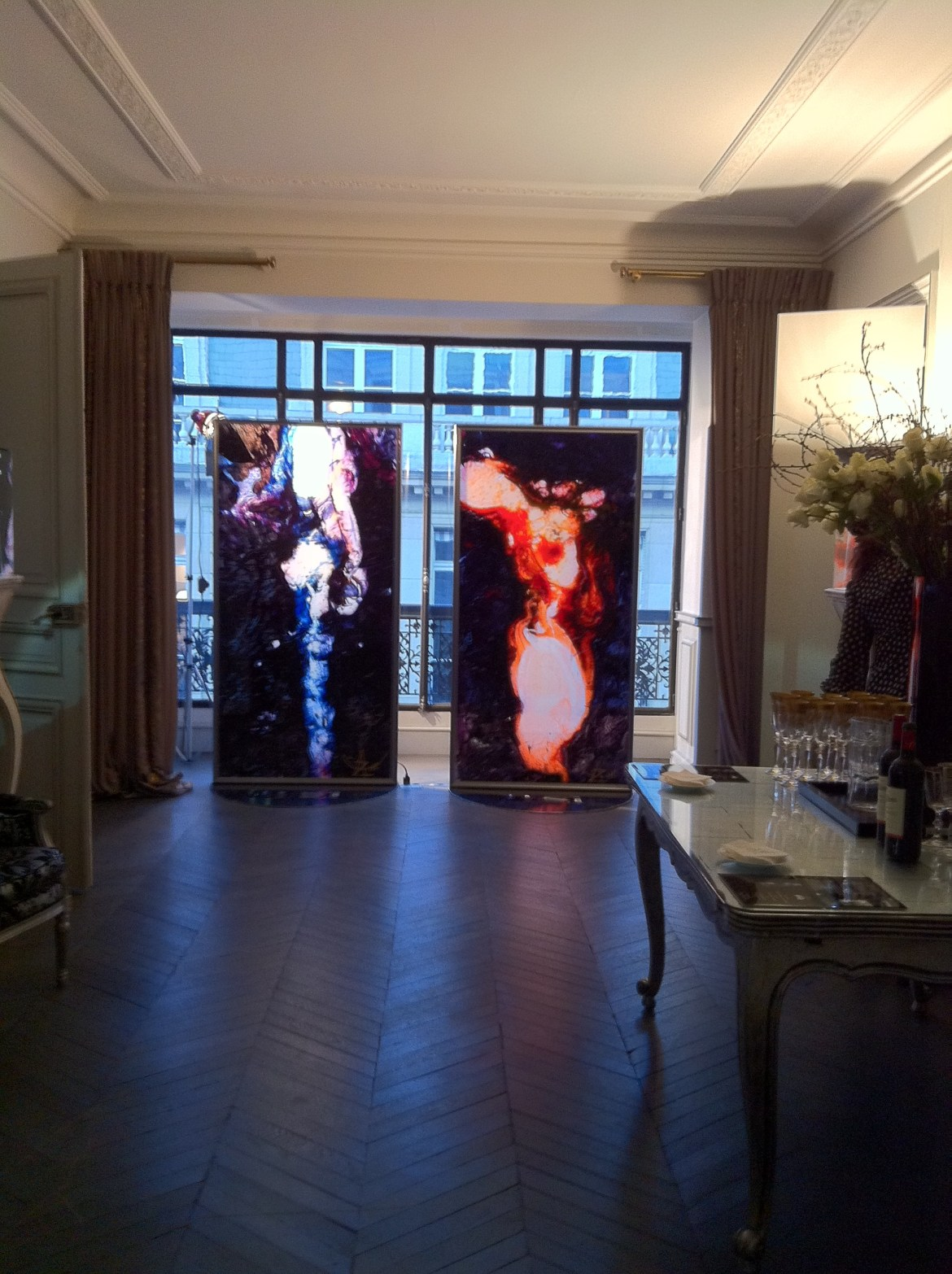 The pair of free standing artworks on exhibition at Eternamé, Paris.