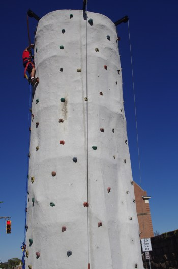 Top of the rock climbing wall