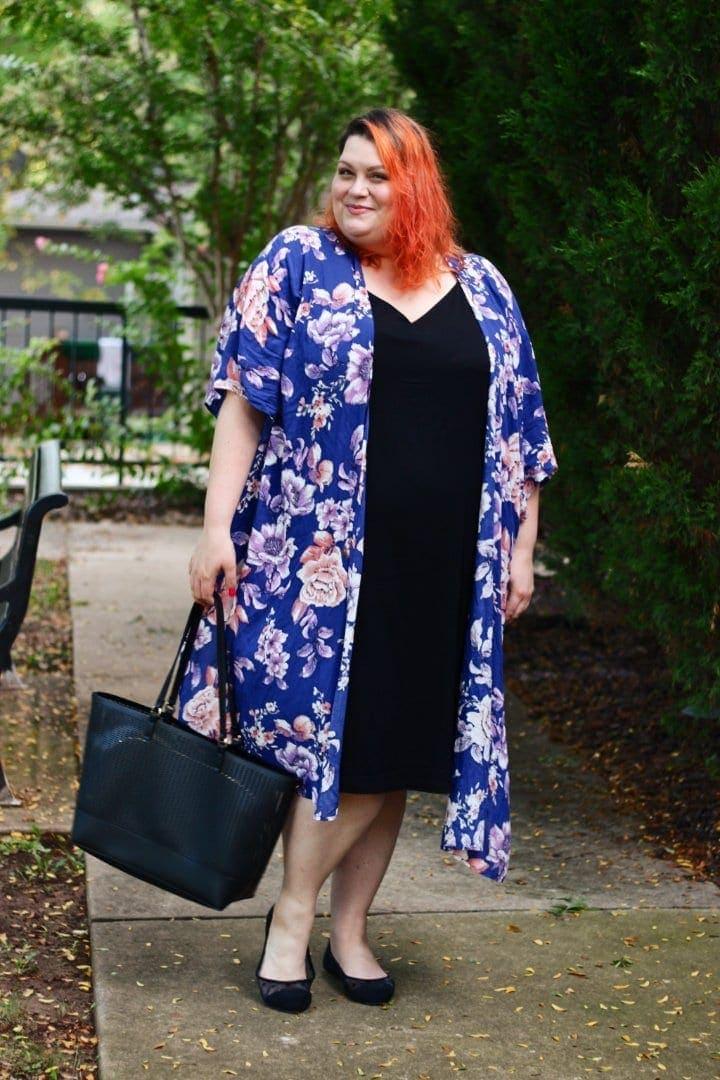 Plus Size Slip Dress With Kimono