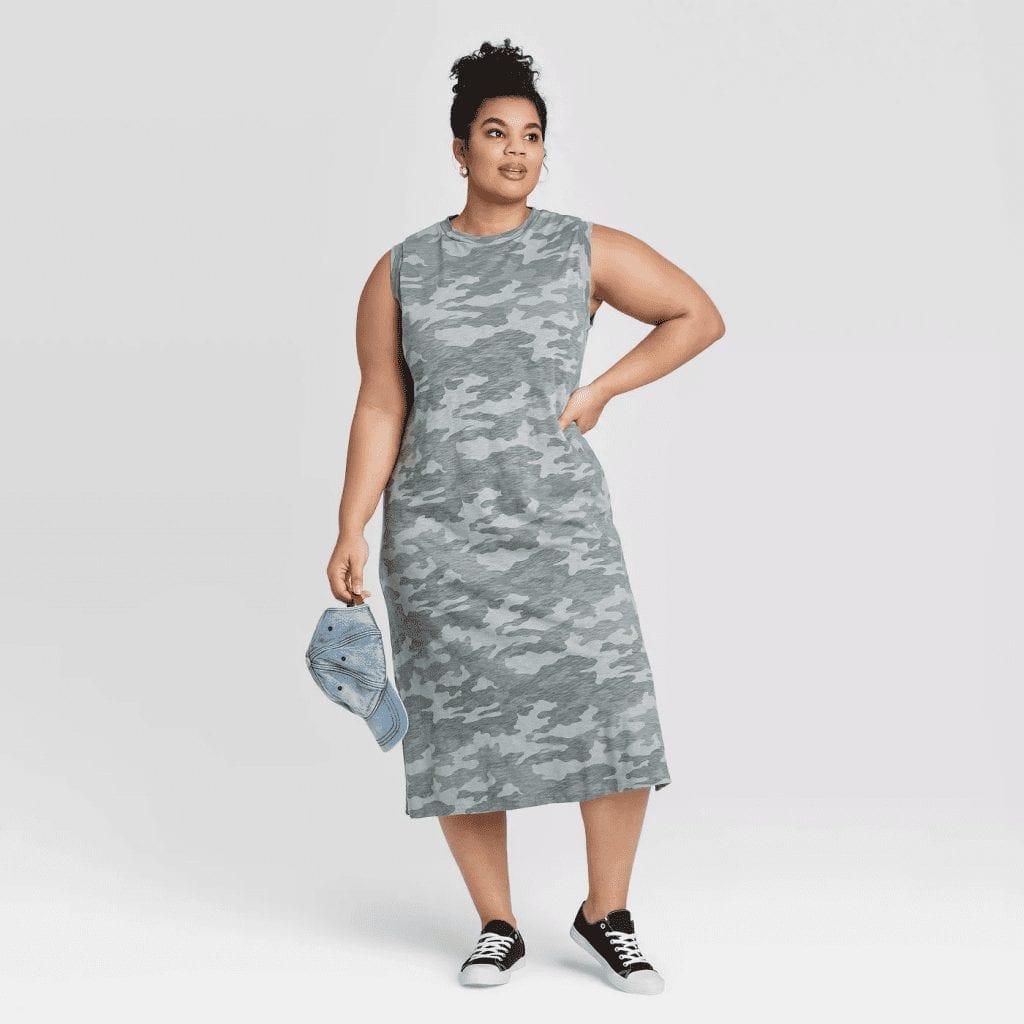 Plus Size Camo Print Sleeveless Knit Dress