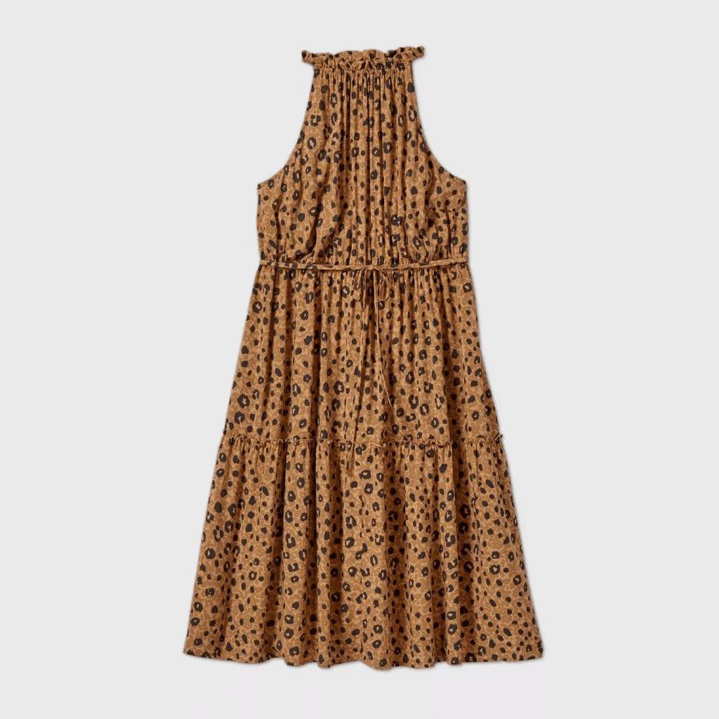 Plus Size Leopard Print Sleeveless Dress