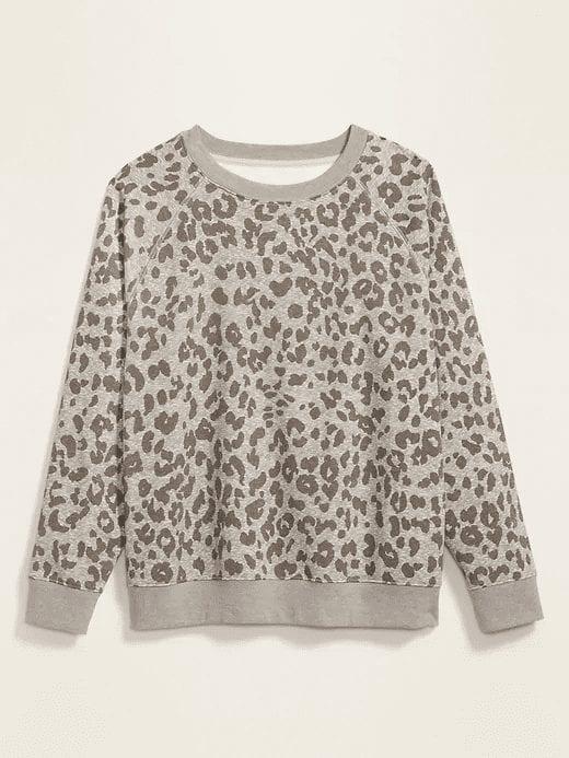 Leopard Print Vintage Crew-Neck Plus-Size Sweatshirt