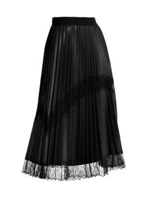 Plus Size Lace Trim Faux-Leather Pleated Midi Skirt