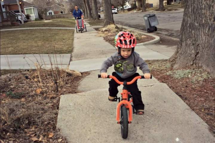 My 3 year old on one of his first bike rides