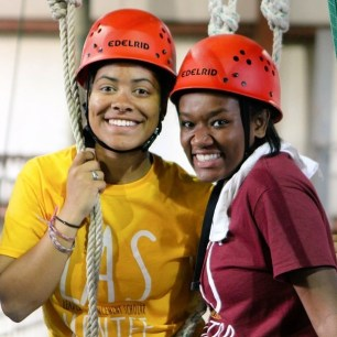 My mentor, Taylor and I about to tackle the ropes course.