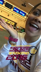 Volunteer at the bowling alley and repping the geo filter on snapchat!