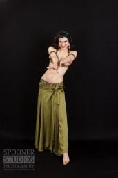 Bellydancer Rasha Nour in an olive green costume