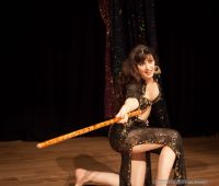 Rasha performing a Saiidi stick dance at the OMEDS Winter Hafla 2012 in Oxford